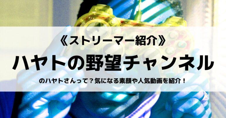 ハヤトの野望チャンネルのハヤトさんって?気になる素顔や人気動画を紹介!