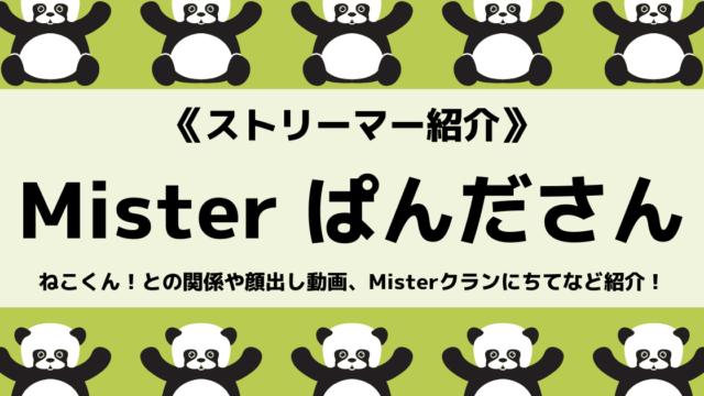 MisterClan所属のぱんださんとは?ねこくん!との関係や顔出し動画を紹介!